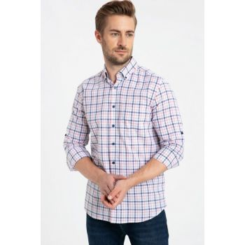 Men's Coral Plaid Shirt 9SS769Z8