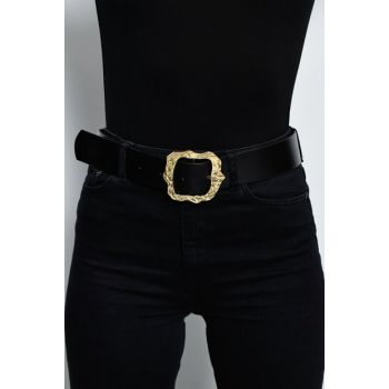 Women's Black Gold Buckle Belt BE195