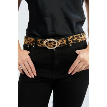 Women's Camel Leopard Patterned Buckle Belt BE63