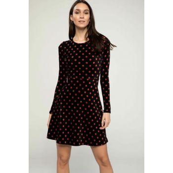 Women Navy Blue Polka Dot Patterned Dress J9495AZ.18AU.NV144 J9495AZ18AUNV144