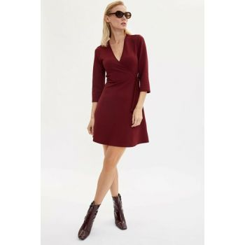 Women's Burgundy Double Breasted Belted Dress M0817AZ.19AU.BR115