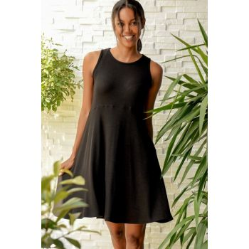 Women's Black Sleeveless Viscon Dress ALC-017-083-X