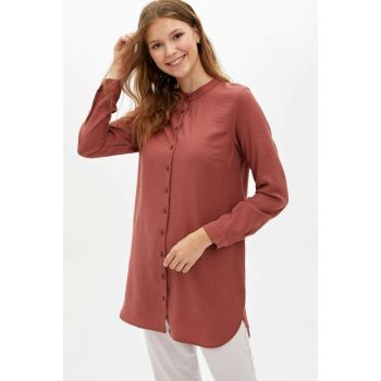 Women's Burgundy Collar Buttoned Tunic M1044AZ.19AU.BR327