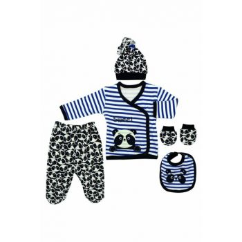 Blue Striped Pandal Newborn 5 Li Baby Set K2868