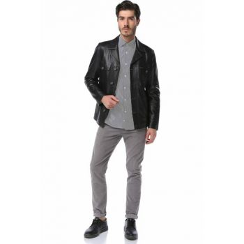 Black Genuine Leather Men Jacket Y_SAFARİ_ZİG