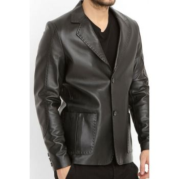 Black Genuine Leather Men Jacket E_SPOR_BLZ