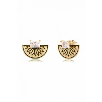 Single Stone Engraved Half Earring Gold COS-CZE1903GP