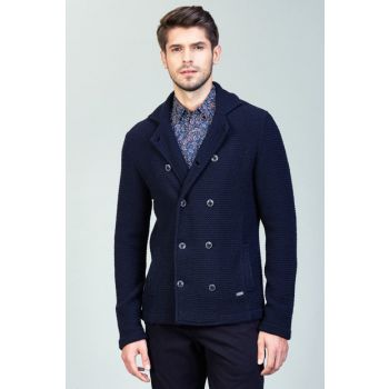 Men's Double Breasted Knitted Coats Navy-A82Y6030-11 A82Y6030-11