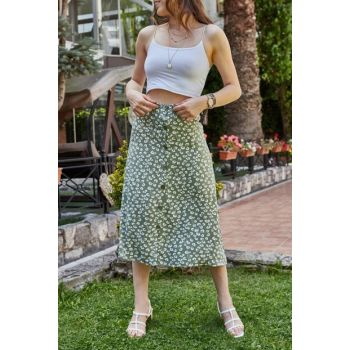 Women's Green Floral Patterned Buttoned Skirt 9YXK6-41461-08