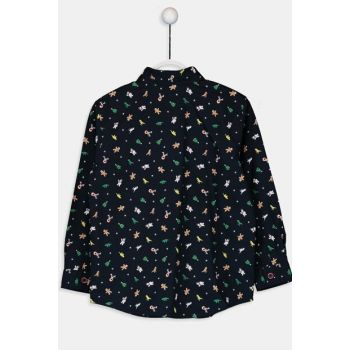 Boys' Navy Blue Printed Lsj Shirt 9WK656Z4