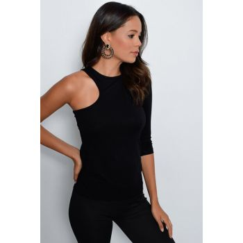 Women Black Single Sleeve Blouse M1725