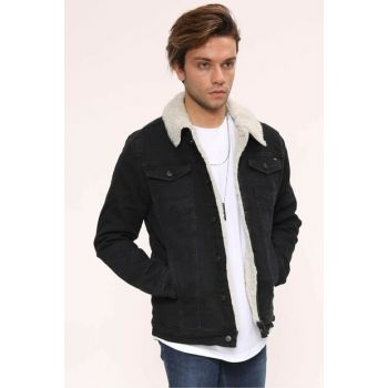 White Fur Black Men's Denim Jacket - dk4404ltc