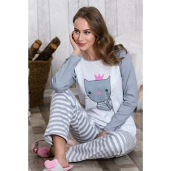 Women's Pink Cat Printed 2 Pajamas Set LB1052