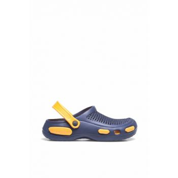 Navy Blue Orange Men's Slipper E087M000