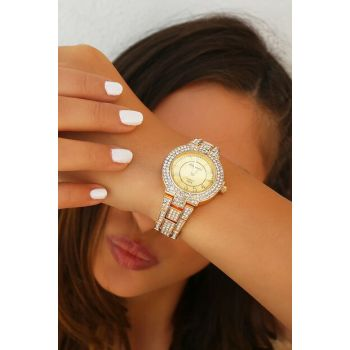 Gold Color Watch with Zircon Stone 8360057