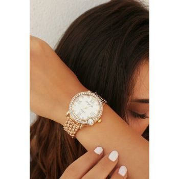Gold Color Watch with Zircon Stone 8360064