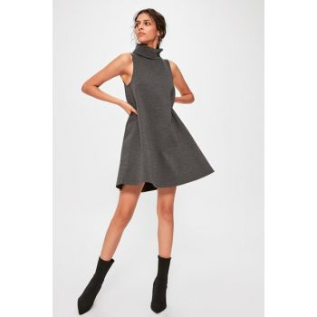 Anthracite Vertical Neck Knitted Dress TWOAW20EL1218