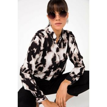 Women's Black Sleeve Folded Tie Dye Viscose Shirt Black S-20K0080007
