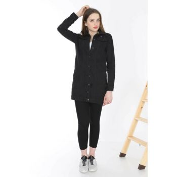 Women's Black Long Denim Jacket MYN6053-01-20010