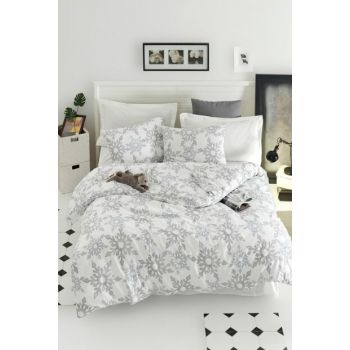 100% Natural Cotton Double Duvet Cover Set Irene White Ep-019037