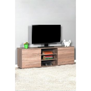 Flat Line Max Two Door Three Compartment Tv Table - Latte TVC-520-LL-1