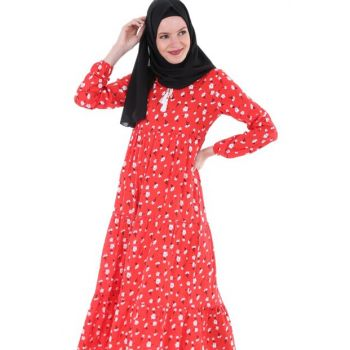 Women's Pomegranate Neck Lace Hijab Dress 1627BGD19_042