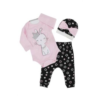 Light Pink Bunny Starry Baby Girl 3 Pieces Set AF90173
