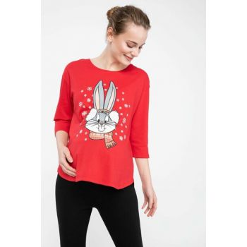 Women Red Bugs Bunny Printed Licensed Relax Fit Pregnant Top K7796AZ.18WN.RD275