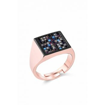 Women's Rose 925 Sterling Silver Square Mix Cubic Zirconia Finger Ring MA_YZ_1172