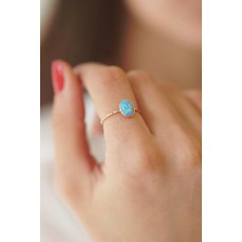 925 Sterling Silver Over Gold Plated Adjustable Light Blue Opal Cubic Zirconia Ring BEJLMN28