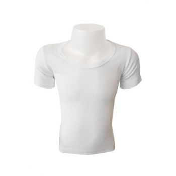 Boys' White Ribana O Neck Undershirt 0803