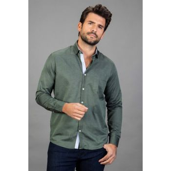 Men's Green Classic Fit Shirt - KL180042-506