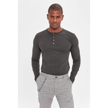 Anthracite Men's Long Sleeve Front Button T-shirt TMNAW20TS0208