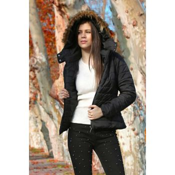 Women's Black Hooded Inflatable Coats 5083BGD19_001