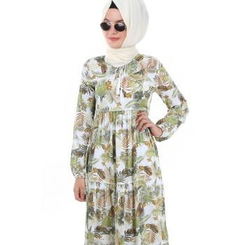 Women's Leaf Patterned Green Collar Lace Hijab Dress 1627BGD19_303