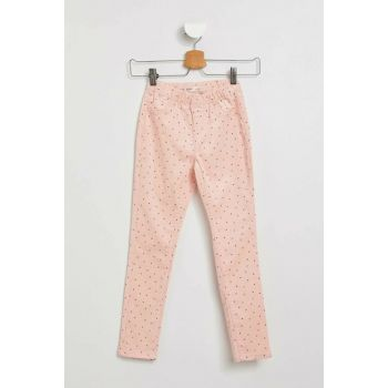 Pink Girls' Patterned Slim Fit Trousers I9014A6.18AU.PN256
