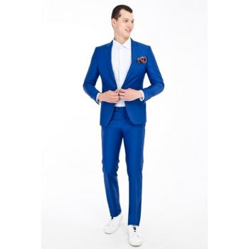 Men's Blue Slim Fit Suit - 81599
