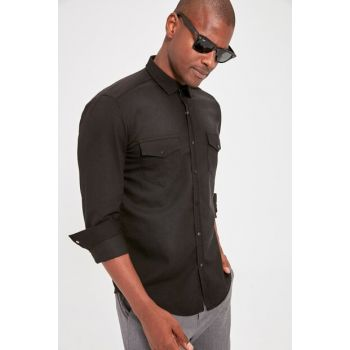 Black Men's Double Pocket Denim Shirt TMNAW20GO0086