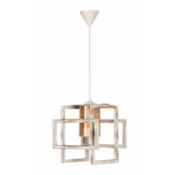 Alice Single Wooden Pendant Lamp With White Tumbled Pattern ORA.214