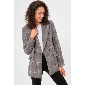 Gray Checked Jacket TWOAW20CE0201