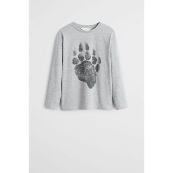 Medium Flecked Gray Boy Patterned Cotton T-Shirt 57055915