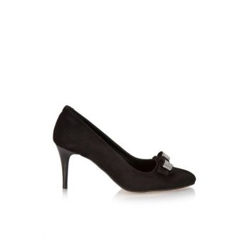 Genuine Leather Black Women Heels Shoes 01AYH105650A100