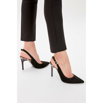 Black Suede Women Heels Shoes TAKAW20TO0009