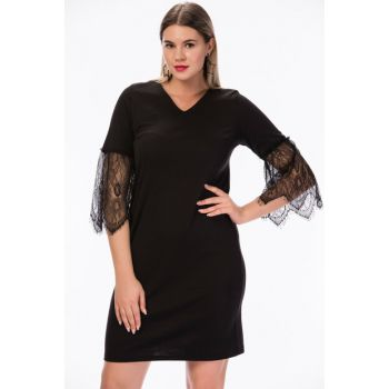 Women's Black Ruched Sleeves Lace Dress 23745