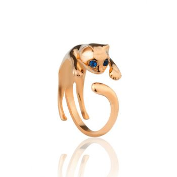 Women's 925 Sterling Silver Adjustable Cat Ring UPT4005