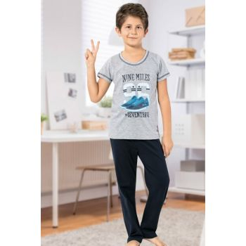 Boys' Gray Cotton Lycra Sleepwear Suit 19118807