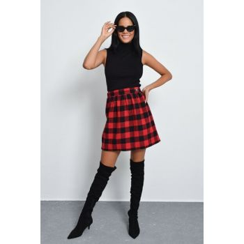 Women Burgundy-Black Plaid Stamp Skirt KN02