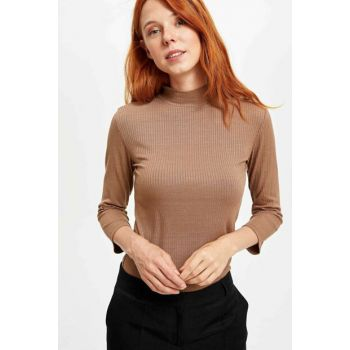 Women's Brown Slim Fit Long Sleeve T-Shirt L7569AZ.19AU.BN233