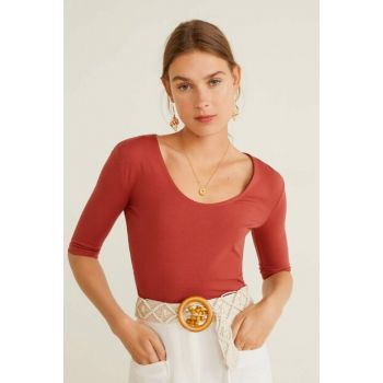 Women's Red Brown Casual Cotton T-Shirt 53070745