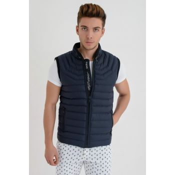 Men's Navy Blue Zipper Inflatable Vest 4370